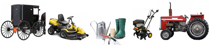 Various types of farm equipment - buggies, tractors, watering cans, seeders